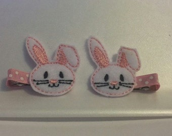 Easter Bunny Rabbit Pink White Felt Feltie Hairclips Clips Clippies Girls Toddler Hairbow Accessories Bunnie