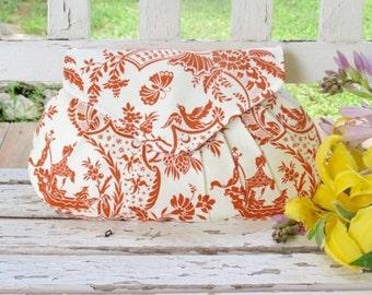Orange and White Pleated Clutch, Bridesmaid Gift, Oriental Purse, Summer Print Handbag, Wedding Accessory