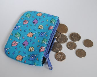 Coin Purse / Small Zipper Pouch / Blue Bag - Rainbow Narwhals Print
