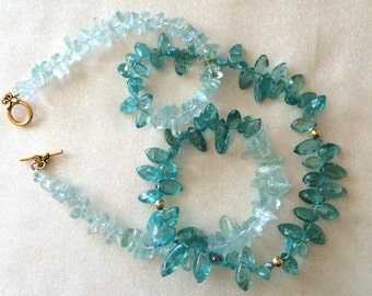 Aquamarine and Apatite necklace with gold beads and toggle clasp