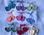 Set of 9 Colorful Crochet Heart Strings for Hanging, Bow, Hair Ties or a Bookmark with FREE SHIPPING