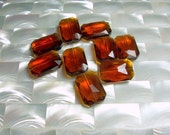 9pcs Chinese Crystal Glass Beads 18 by 13mm Whiskey Golden Brown Emerald cut Small/Medium Jewelry Jewellery Craft Supplies