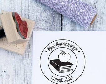 Teacher Stamp - Book and Apple, Custom, Teacher Gift, From The Classroom, From The Desk, Wooden Stamp, Rubber Stamp