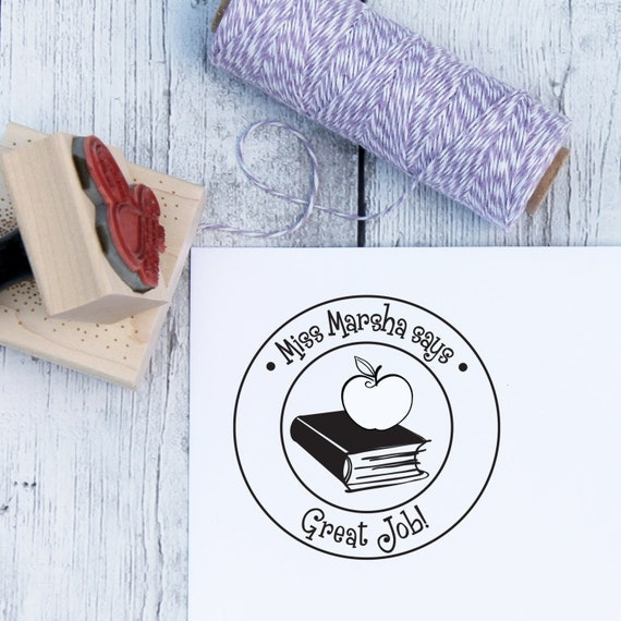 Teacher Stamp - Book and Apple, Custom, Teacher Gift, From The Classroom Of, From The Desk Of, Wooden Stamp, Rubber Stamp