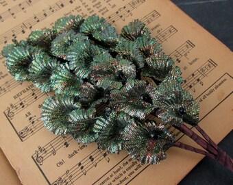 Vintage Old Stock Metallic Flower Pick Bundle // Millinery Flower Stems
