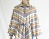 Vintage 70's Knit Chevron Striped Poncho