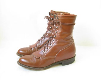 Vintage Justin Lace Up ROPER BOOTS. Size 9  Women's