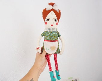 Waitress Rag Doll Bakery Red Green - Featured in STUFFED MAGAZINE