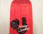 MORNING ROOSTER on RUST Extra Plush Double Layer Hanging Crochet Towel for kitchen