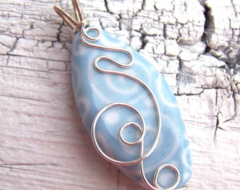 Fine Silver Lampwork Pendant - sky blue, white - Flying The Friendly Skies - SRA AutEvDesigns, ISGB