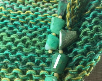 Mindful Wrap, Wearable Fiber Art-Chrysocolla Beads on a Shades of Green and Gold Wool Silk Mindfulness Mantle