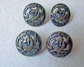 Set of 4 Antique Victorian 1890 Era Mythical Gryphon or Dragon Buttons, Brass Metal Buttons, Victorian Buttons, Antique Buttons