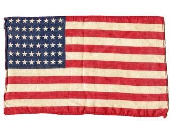 Vintage 1940's  Small 48 Star Cotton US Flag,  Original United States Flag, Americana Flag for Framing, WWII  Era Parade Flag