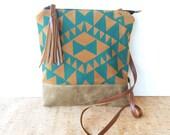 weekdayer - large • crossbody bag - geometric print • teal geometric print - brown faux suede - screenprint - iPad bag • vukani
