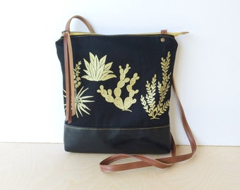weekdayer • crossbody bag - cactus print • metallic gold cactus print - black canvas - handprinted - glossy faux leather •native