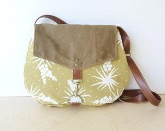 satchel • waxed canvas crossbody bag - floral print • hand printed mustard canvas - white yucca botanical print - waxed canvas • native