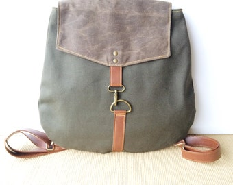 backpack • industrial - waxed canvas backpack  • industrial dark olive canvas - dark brown waxed canvas • adventure back pack • scout