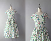 1940s Dress / Vintage 40s Pink Leaves Novelty Print Dress / 40s White Printed Day Dress