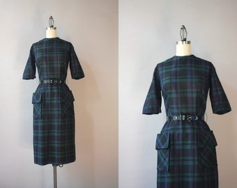 Vintage 1960s Dress / 60s Dark Plaid Fitted Dress / 1950s Pencil Skirt Patch Pocket Dress