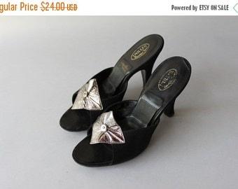 STOREWIDE SALE 1950s Springolators / Vintage 50s Black Suede Mules / 50s Open Toe Femme Fatale Heels