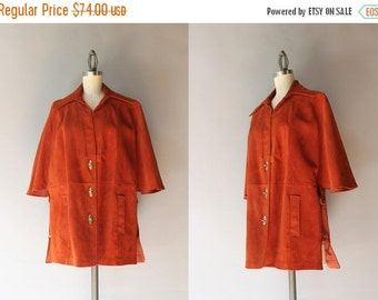 STOREWIDE SALE 1970s Suede Cape / Vintage 70s Bohemian Toggle Capelet / 60s Suede Leather Jacket