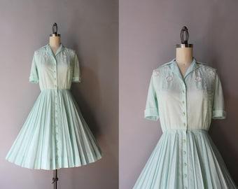 50s Dress / 1950s Crochet Cutout Carlye Dress / Vintage 50s 60s Mint Pleated Cotton Day Dress