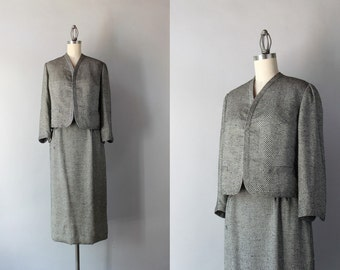 1950s Adele Simpson Suit / Vintage 50s 60s Silk Boxy Suit Set / 1960s Pencil Skirt and Jacket