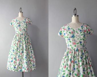 1940s Dress / Vintage 40s Pink Leaves Novelty Print Dress / 40s White Printed Day Dress