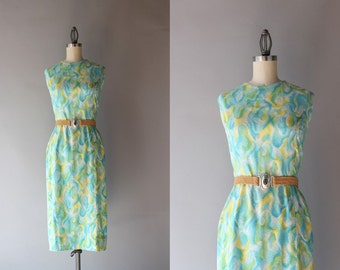 1960s Dress / Vintage 60s Fitted Cotton Dress / 50s Summer Day Dress