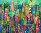 New York City Skyline Wanderlust Digital Print Hoffman Fabric 1 yard