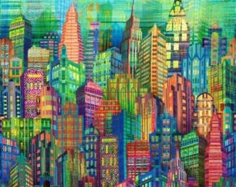 New York City Skyline Wanderlust Digital Print Hoffman Fabric 1 yard
