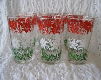 Set of 6 Vintage Floral Glasses ~ Tumblers ~ Beverage Drinking Drinkware Cornflowers