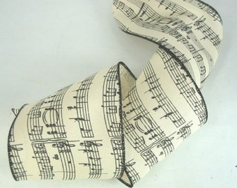 """Music Score 15 Feet Black On Ivory Music Score Notes 4"""" Wire Edge Ribbon Song"""