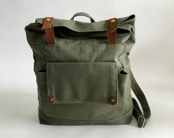Olive leather canvas  backpack , Back to school backpack ,Unisex travel satchel Rucksack, Canvas diaper backpack  /SALE 30% - no.105 ALLISON