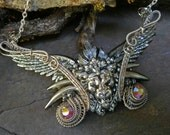 Gothic Steampunk Lion with Wings Statement Necklace