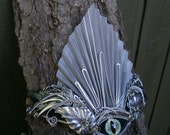 Gothic Steampunk Silver Eye Crown With Leaves