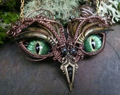 Gothic Steampunk Green Eye Baby Owl Necklace