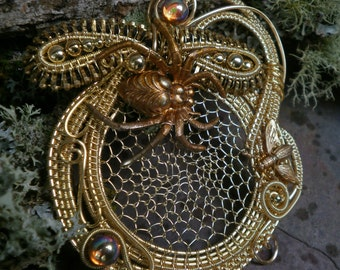 Gothic Steampunk Golden Spider and the Fly Pin Pendant Brooch