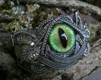 Gothic Steampunk Green Eye Bracelet Cuff with Wings