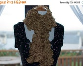 On Sale Handknitted Ruffles Scarf in Gold