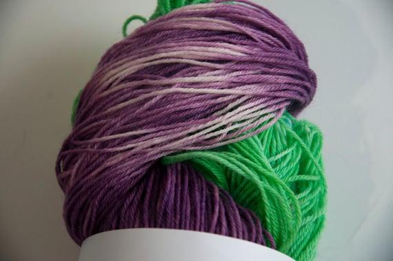 Hand-Dyed The Barney Twist Colourway Sock Yarn Superwash Wool/Nylon Tootsie Base