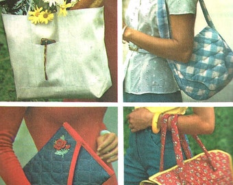 1970s Purse Pattern Handbag Carryall Tote Bag Simplicity Vintage Sewing Women's Misses One Size
