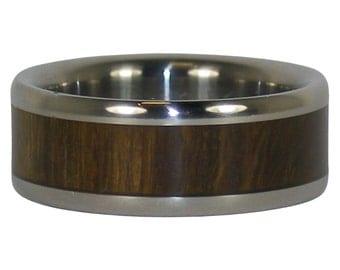 Titanium Ring with Lignum Vitae Wood Inlay