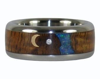 Koa Opal Diamond and Gold Moon Wedding Band