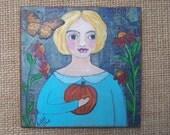 Fall Painting Girl with Pumpkin Mixed Media Encaustic ooak original FREE SHIPPING