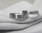 Titanium Ring or Wedding Band SET, Beveled Edges, Brushed/Polished
