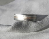 Titanium Ring or Wedding Band with Silver and Rose Gold Inlay Stripes