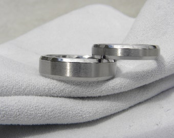 Titanium Ring or Wedding Band SET, Beveled Edges, Brushed/Polished