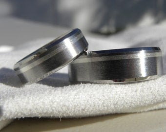 Beveled Edge Ring Set, Matching Bands, Titanium with Offset Silver Stripe Inlay