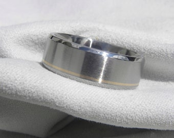 Titanium Wedding Band with Offset Pinstripe Yellow Gold Inlay Ring